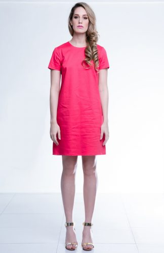 Abi shift dress available in coral and navy blue at Chimes Boutiques