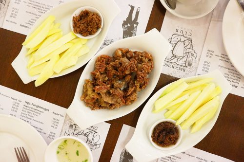 Bagoong Club Appetizers: Mangga't Bagoong (Green Mangoes with Shrimp Paste))and Chicharon Bulaklak  (Deep Fried Pork Intestines)