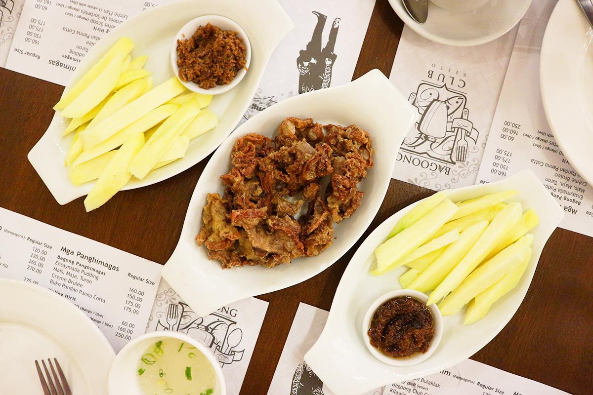 Bagoong Club Appetizers: Mangga't Bagoong (Green Mangoes with Shrimp Paste))and Chicharon Bulaklak (Deep Fried Pork Intestines)